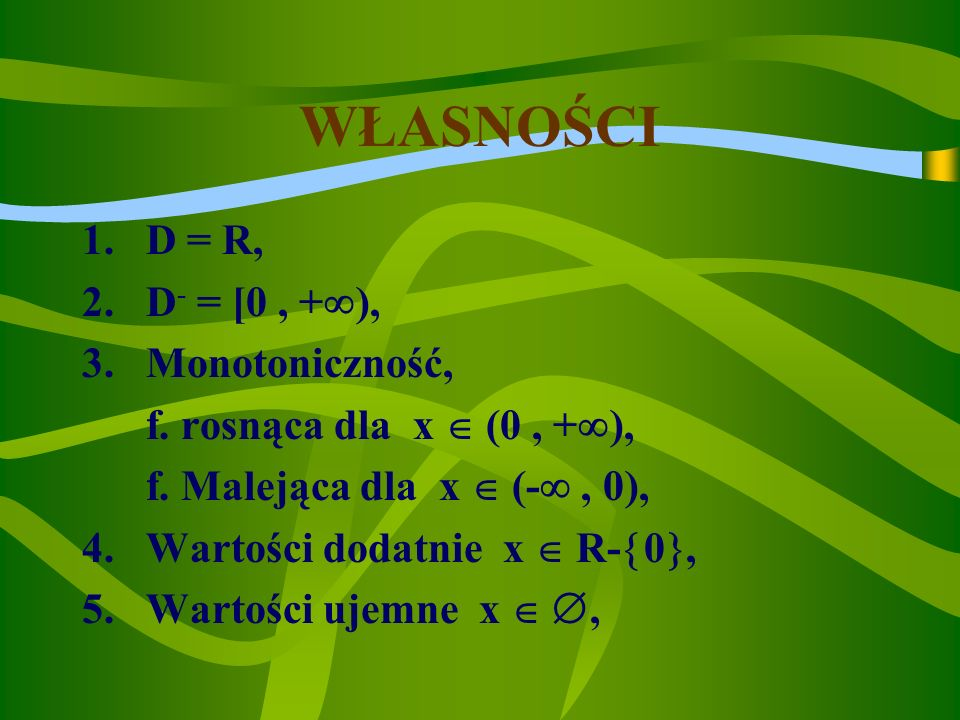 WŁASNOŚCI D = R, D- = [0 , +), Monotoniczność,